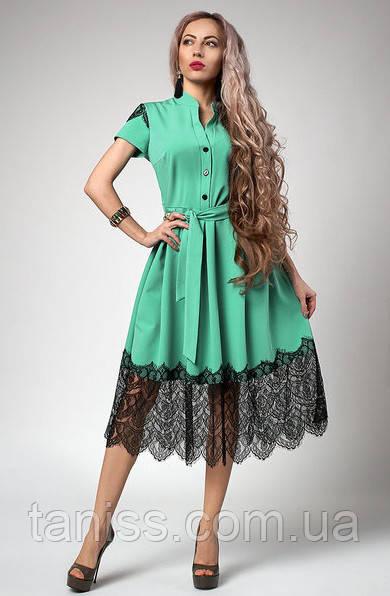 Літнє плаття з франц. мереживом р-р 44,46,48,50,52 м'ята (701)