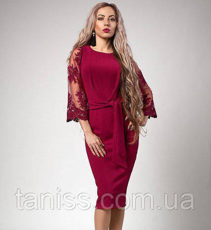 Нарядное платье с кружевными рукавами р-р 52 малина (704)