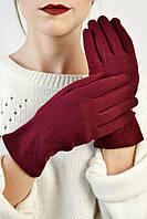 Женские перчатки трикотажные Макарон марсала размер 7,5