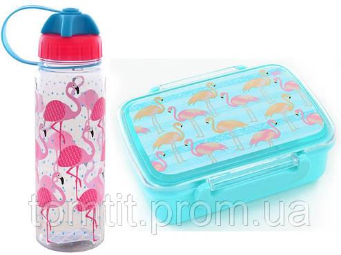 """Набор """"Flamingo (Фламинго)"""".  Ланч бокс (ланчбокс) + бутылка, фото 2"""
