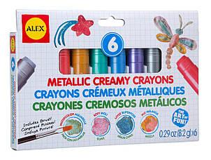П,  Мелки сливочные Alex 6 штук Creamy Crayons Metallic Оригинал (США)