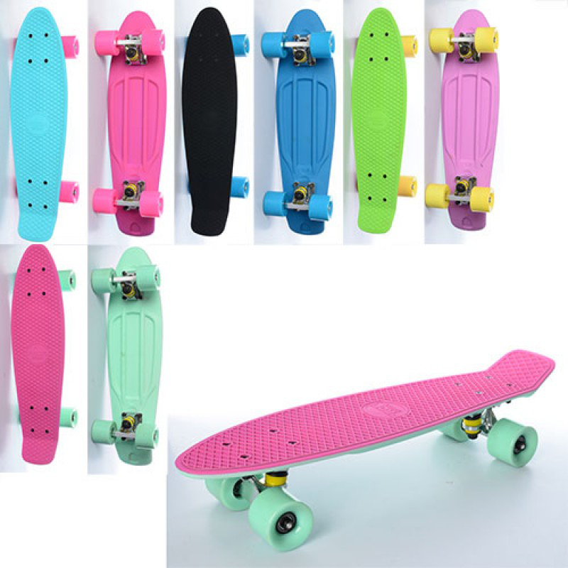Скейт детский, пени борд 57 х 15 см, алюмин. подвеска, колеса пу, антискольжение, Profi MS 0750 - 1