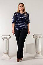 Женская рубашка батал, креп- шифон, р-р 50; 52; 54; 56 (тёмно-синий)