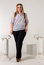 Женская рубашка батал, креп- шифон, р-р 50; 52; 54; 56 (белый)