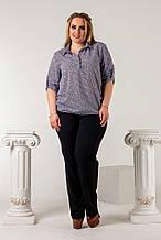 Женская рубашка батал, креп- шифон, р-р 50; 52; 54; 56 (чёрный)