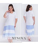Воздушное летнее платье батал с короткими рукавами большого размера ТМ Минова Размер: 52, 54, 56, 58, 60, 62,