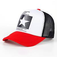 Кепка тракер Звезда с сеточкой Красная, Унисекс