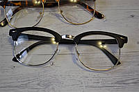 Имиджевые очки с прозрачной линзой в стиле клабмастер