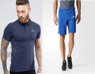 Мужской комплект поло + шорты Lacoste синего и голубого цвета