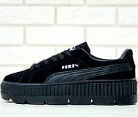 Женские кроссовки Puma Rihanna Fenty Suede Cleated Creeper Black (Топ реплика ААА+)