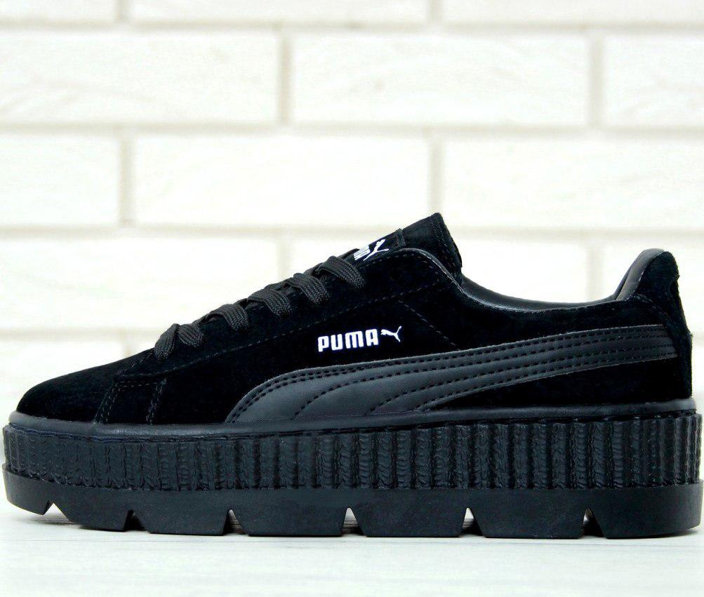 d08a309edf40 Женские кроссовки в стиле Puma Rihanna Fenty Suede Cleated Creeper Black