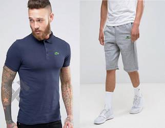 Мужской комплект поло + шорты Lacoste синего и серого цвета (люкс копия)