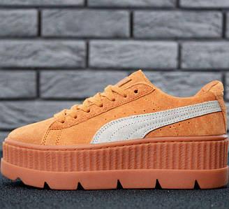 Женские кроссовки в стиле Puma Rihanna Fenty Suede Cleated Creeper Orange