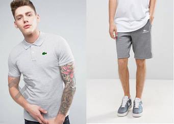 Мужской комплект поло + шорты Lacoste серого цвета (люкс копия)
