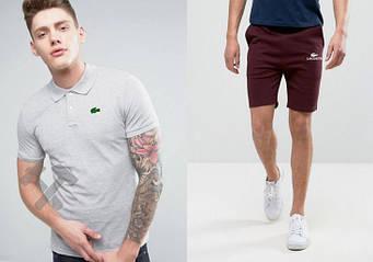 Мужской комплект поло + шорты Lacoste серого и красного цвета