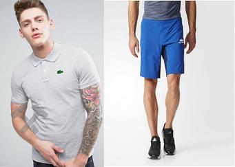 Мужской комплект поло + шорты Lacoste серого и голубого цвета (люкс копия)
