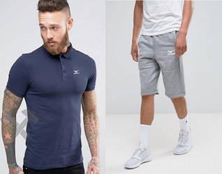 Мужской комплект поло + шорты mizuno синего и серого цвета (люкс копия)