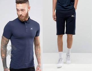 Мужской комплект поло + шорты mizuno синего цвета (люкс копия)