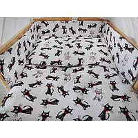 Комплект в кроватку Хатка 6 в 1 Коты бело-черный