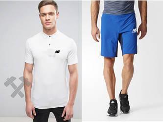 Мужской комплект поло + шорты New balance белого и голубого цвета (люкс копия)