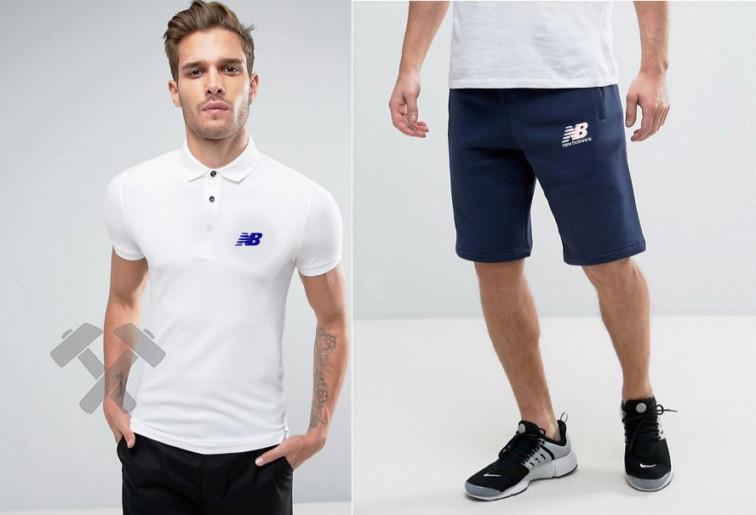 Мужской комплект поло/футболка и шорты Нью Беланс (New Balance), поло и шорты New Balance,мужская тенниска, копия