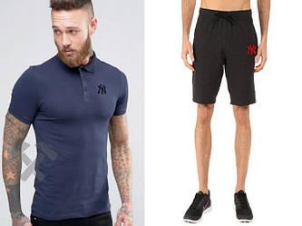 Мужской комплект поло + шорты New York синего и черного цвета (люкс копия)