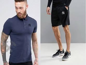 Мужской комплект поло + шорты New York синего и черного цвета