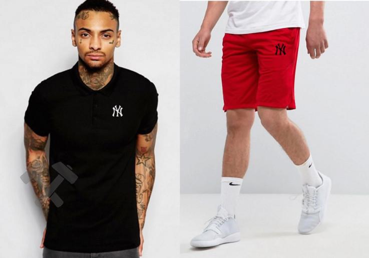 Мужской комплект поло/футболка и шорты Нью Йорк (New York), поло и шорты New York,мужская тенниска, копия