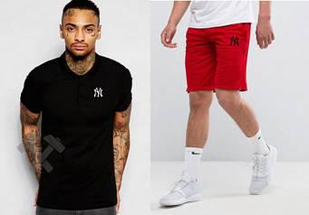 Мужской комплект поло + шорты New York черного и красного цвета (люкс копия)