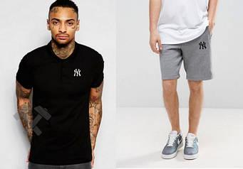 Мужской комплект поло + шорты New York черного и серого цвета (люкс копия)