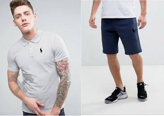 Мужской комплект поло + шорты Polo Ralph Lauren серого и синего цвета (люкс копия)