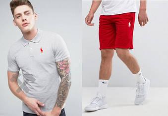Мужской комплект поло + шорты Polo Ralph Lauren серого и красного цвета (люкс копия)