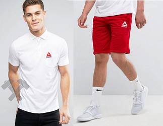 Мужской комплект поло + шорты Reebok серого и красного цвета (люкс копия)