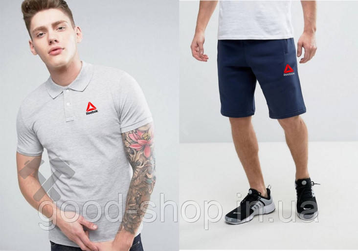 Мужской комплект поло/футболка и шорты Рибок (Reebok), поло и шорты Reebok,мужская тенниска, копия