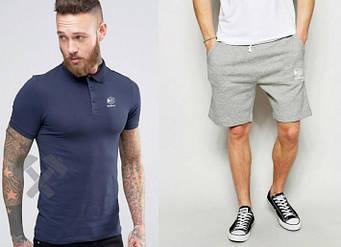 Мужской комплект поло + шорты Reebok серого и синего цвета (люкс копия)