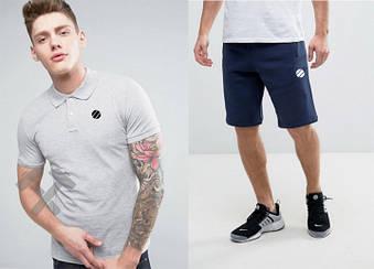 Мужской комплект поло + шорты UFC серого и синего цвета (люкс копия)