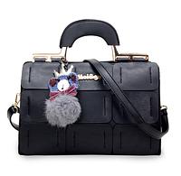 Красивая сумка женская черная с брелком Мишка код 3-296