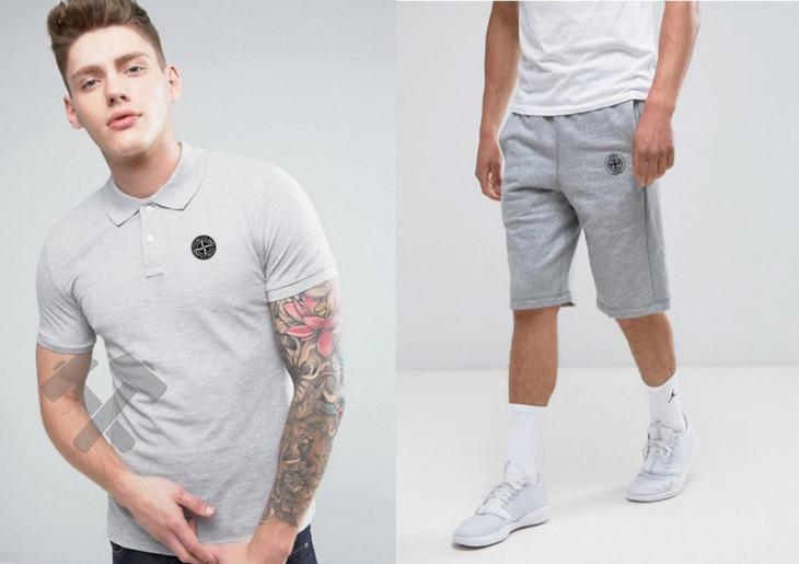 Мужской комплект поло/футболка и шорты Стон Айланд (Stone Island), поло и шорты Stone Island,мужская тенниска, копия