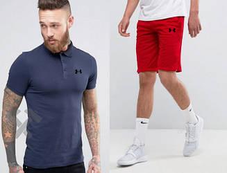 Мужской комплект поло + шорты Under Armour синего и красного цвета