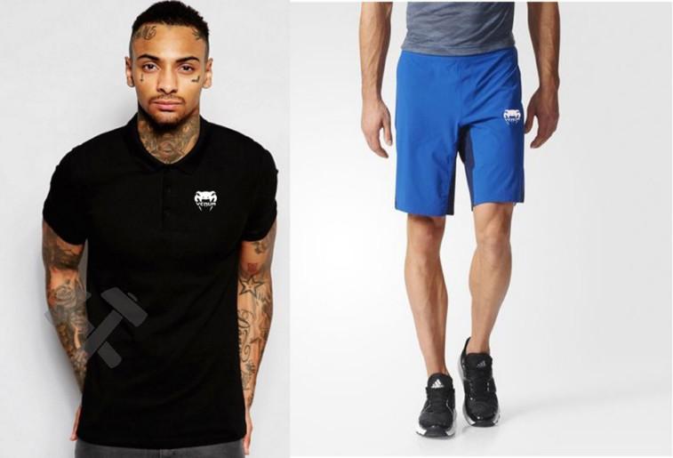 Мужской комплект поло/футболка и шорты Венум (Venum), поло и шорты Venum,мужская тенниска, копия