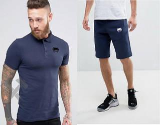 Мужской комплект поло + шорты Venum синего цвета