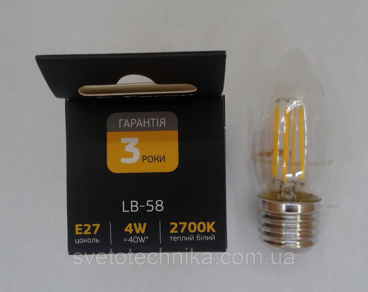 Светодиодная лампа Feron LB-58 Filament 4W E274000К
