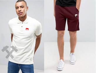 Мужской комплект поло + шорты Venum белого и красного цвета