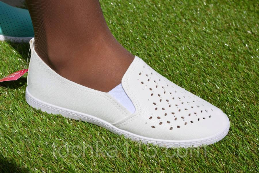 Женские слипоны кожаные белые, фото 1