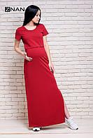 ZNANA Платье футболка для беременных и кормящих ZNANA Simple Long вишня