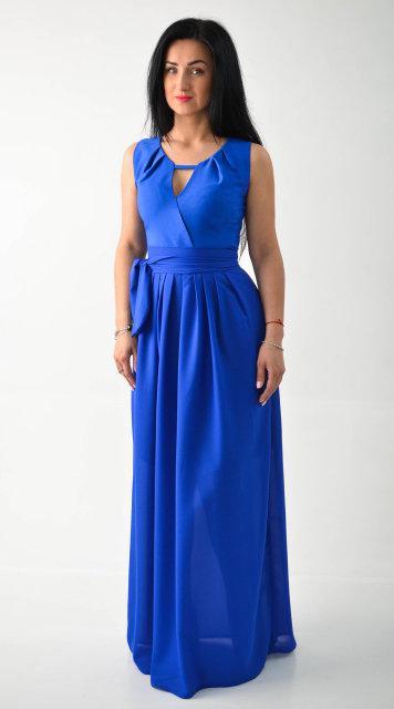 Длинное выпускное платье синего цвета(электрик) Размеры:44, 48