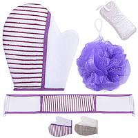 Набор для душа, 4 предмета: мочалки, рукавица, пенза, R17449