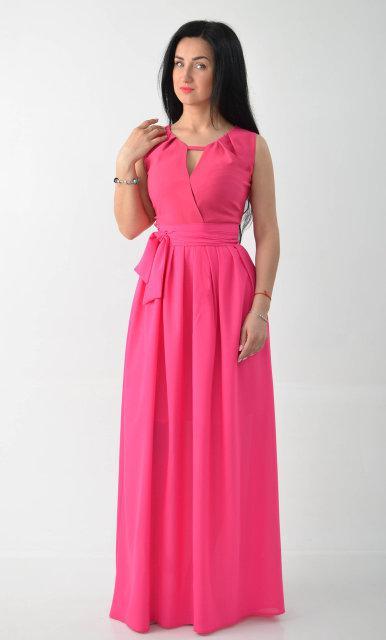 Длинное выпускное платье ярко розового цвета.Размеры:44, 46