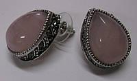 Классические серьги-гвоздики с натуральным розовым кварцем, фото 1