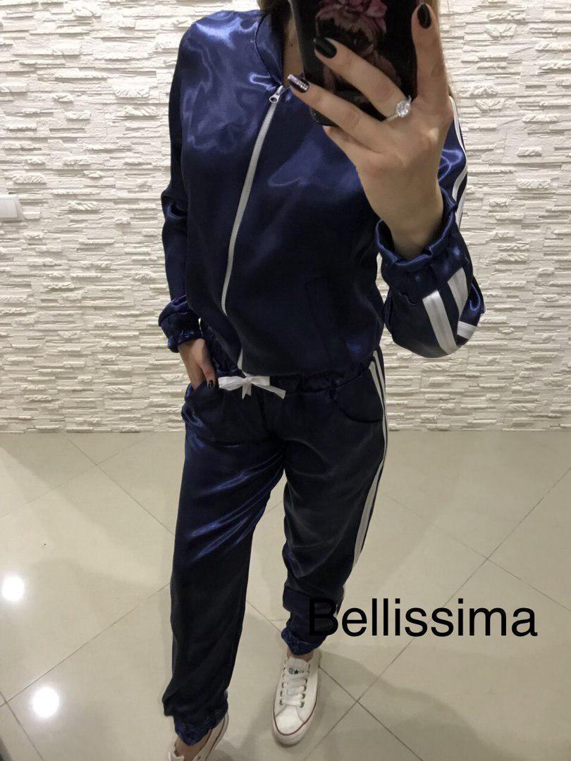 Костюм спортивный атласный шорты штаны и кофта